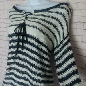 Sweaters - LOVEMARKS open knit striped sweater top